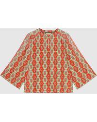 Gucci Tunika aus Baumwollleinen mit GG Paisley Muster - Orange