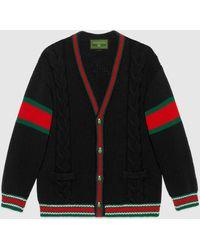 Gucci 【公式】 (グッチ)diy ユニセックス ウール カーディガンブラックにレッドのアルファベットブラック