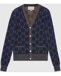 Gucci Cardigan aus GG Baumwolljacquard - Blau