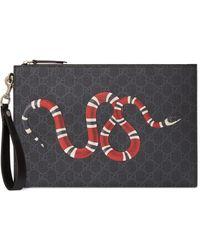 Gucci Bolso de mano con GG y serpiente real - Negro