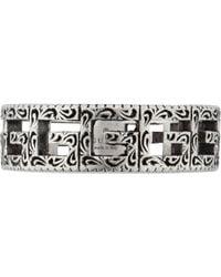 Gucci Anillo de plata con motivo G cuadrado - Metálico