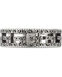 Gucci Silver Ring With Square G - Metallic
