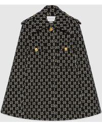 Gucci Cape aus gefilzter Wolle mit GG Jacquard - Schwarz