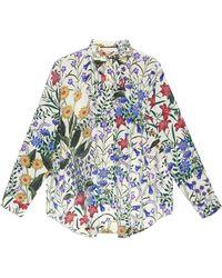 Gucci New Flora Print Oversize Shirt - Green