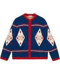 Gucci Strick aus Argyle Wolle mit GG Stickerei - Blau