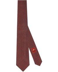 Gucci Krawatte aus Seide mit GG Horsebit - Rot