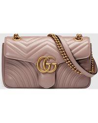 Gucci 【公式】 (グッチ)〔GGマーモント〕キルティング ショルダーバッグダスティピンク レザーピンク