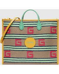 Gucci Capri Shopper mit Streifenmuster - Natur