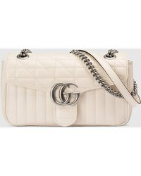 Gucci - 【公式】 (グッチ)〔GGマーモント〕スモール ショルダーバッグホワイト レザーホワイト - Lyst