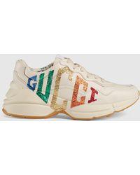 Gucci 【公式】 (グッチ)〔ライトン〕ウィメンズグリッター ロゴ レザー スニーカーホワイト レザー ホワイト