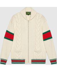 Gucci 【公式】 (グッチ)diy ユニセックス ウール ボンバージャケットホワイトにブルーのアルファベットホワイト - マルチカラー
