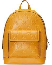 Gucci Rucksack aus geprägtem GG Leder - Gelb