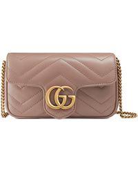 Gucci GG Marmont Super-Mini-Tasche aus Matelassé-Leder - Pink