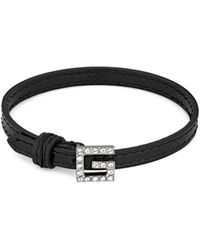 Gucci Leather Bracelet With Square G - Black