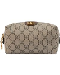 Gucci Ophidia Medium Textured Leather-trimmed Printed Coated-canvas Cosmetics Case - Natural