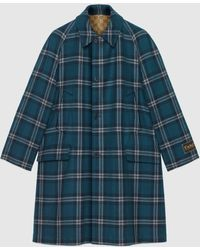 Gucci 【公式】 (グッチ)リバーシブル タータンチェック ウール コートブルー&ホワイトブルー