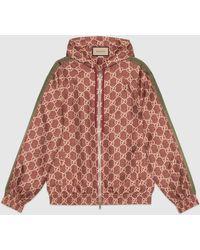 Gucci 【公式】 (グッチ)GGスプリーム プリント シルク ジャケットピンク&ベージュレッド