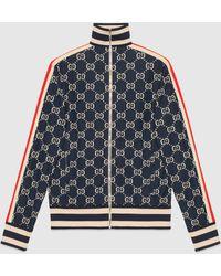 Gucci Jacke aus Baumwolle mit GG Jacquard - Blau