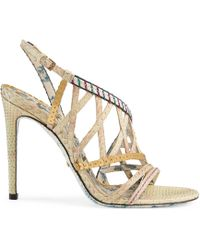 Gucci - Python Sandal With Sequins - Lyst