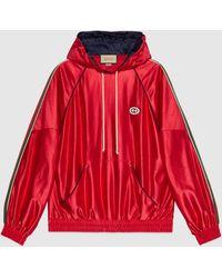 Gucci 【公式】 (グッチ)ウェブ ストライプ付き シャイニージャージー フーデッドスウェットシャツブライトレッドレッド