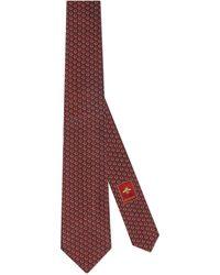 Gucci Cravate en soie avec détail mors gg - Rouge