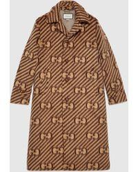 Gucci Mantel aus Wolle mit GG Streifen und Etikett - Braun