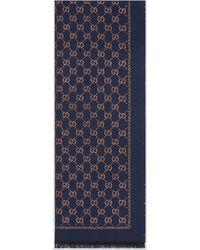 Gucci Metallic GG Wool Scarf - Blue