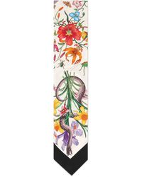 Gucci Flora Snake Print Neck Bow - White