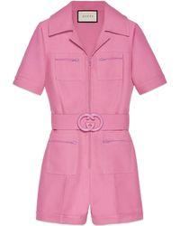 Gucci - Tuta corta in lana e seta con cintura - Lyst