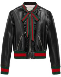 Gucci Ruffle Leather Bomber Jacket - Black