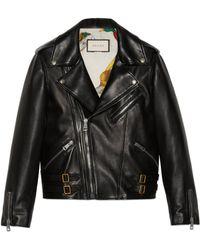 Gucci Plongé Leather Biker Jacket - Black