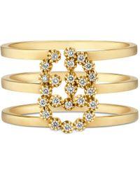 Gucci Bague double G avec diamants - Métallisé
