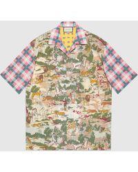 Gucci Oversized-Hemd mit Print - Grün