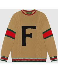 Gucci 【公式】 (グッチ)diy ユニセックス ウール セーターキャメルにブラックのアルファベットベージュ - マルチカラー