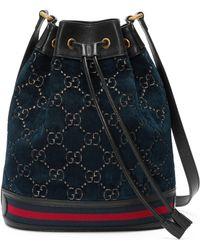 Gucci - GG Velvet Bucket Bag - Lyst