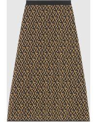 Gucci グッチgランバス ラメ ウールジャカード スカート - ブラック