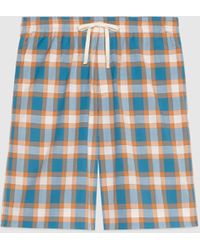 Gucci - 【公式】 (グッチ)チェック コットン ショートパンツブルー&オレンジブルー - Lyst