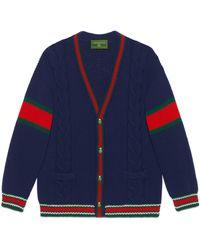 Gucci Cardigan en laine DIY unisexe - Bleu