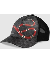 Gucci Baseballkappe aus GG Supreme mit Kingsnake-Print - Schwarz