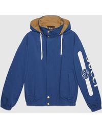 Gucci - 【公式】 (グッチ) ロゴ プリント リバーシブル ジャケットブルー/ブラウン コットンナイロンブルー - Lyst