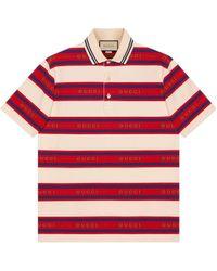 Gucci Poloshirt aus Baumwolle mit Jacquard-Streifen - Rot
