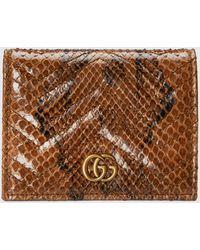 Gucci - 【公式】 (グッチ)〔GGマーモント〕オンライン限定 パイソン カードケース ウォレット (コイン&紙幣入れ付き)ブラウンブラウン - Lyst