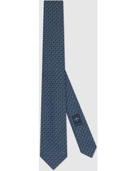 Gucci 【公式】 (グッチ)オンライン限定 ホースビット シルク ネクタイダークブルーブルー