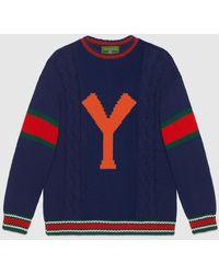 Gucci グッチdiy ユニセックス ウール セーター - ブルー