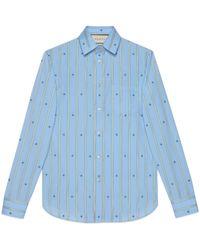 Gucci Chemise en coton avec abeille en fil coupé - Bleu