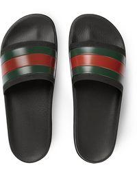 Gucci Pantolette mit Webdetail - Grün