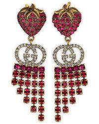 Gucci Strawberry Earrings With Crystals - Multicolor