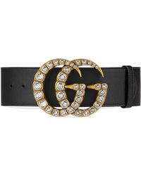 Gucci - Leather Belt With Crystal Double G Buckle - Lyst