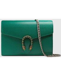 Gucci Dionysus Super-Mini-Tasche aus Leder - Grün