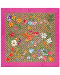 Gucci Silk Carré With GG Flora Print - Multicolor